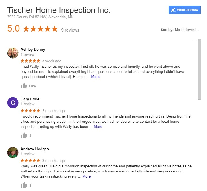 google reviews for tischer home inspection